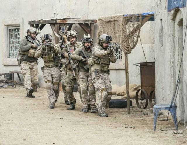 David Boreanaz, Neil Brown Jr., and Tyler Grey in SEAL Team (2017)
