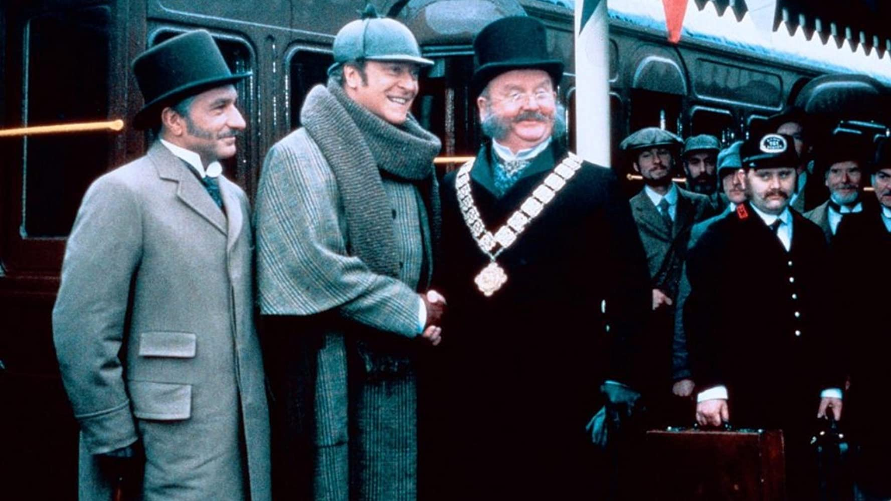 Michael Caine, Ben Kingsley, and Harold Innocent in Without a Clue (1988)