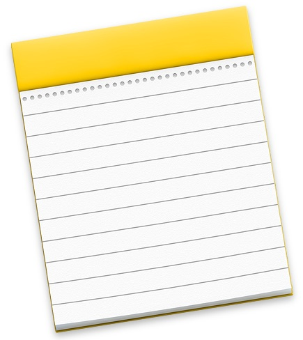 Picture of macOS Notes icon showing a note pad with lines