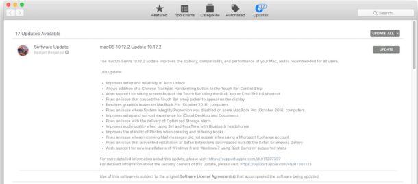 Mac OS App Store Software Updates