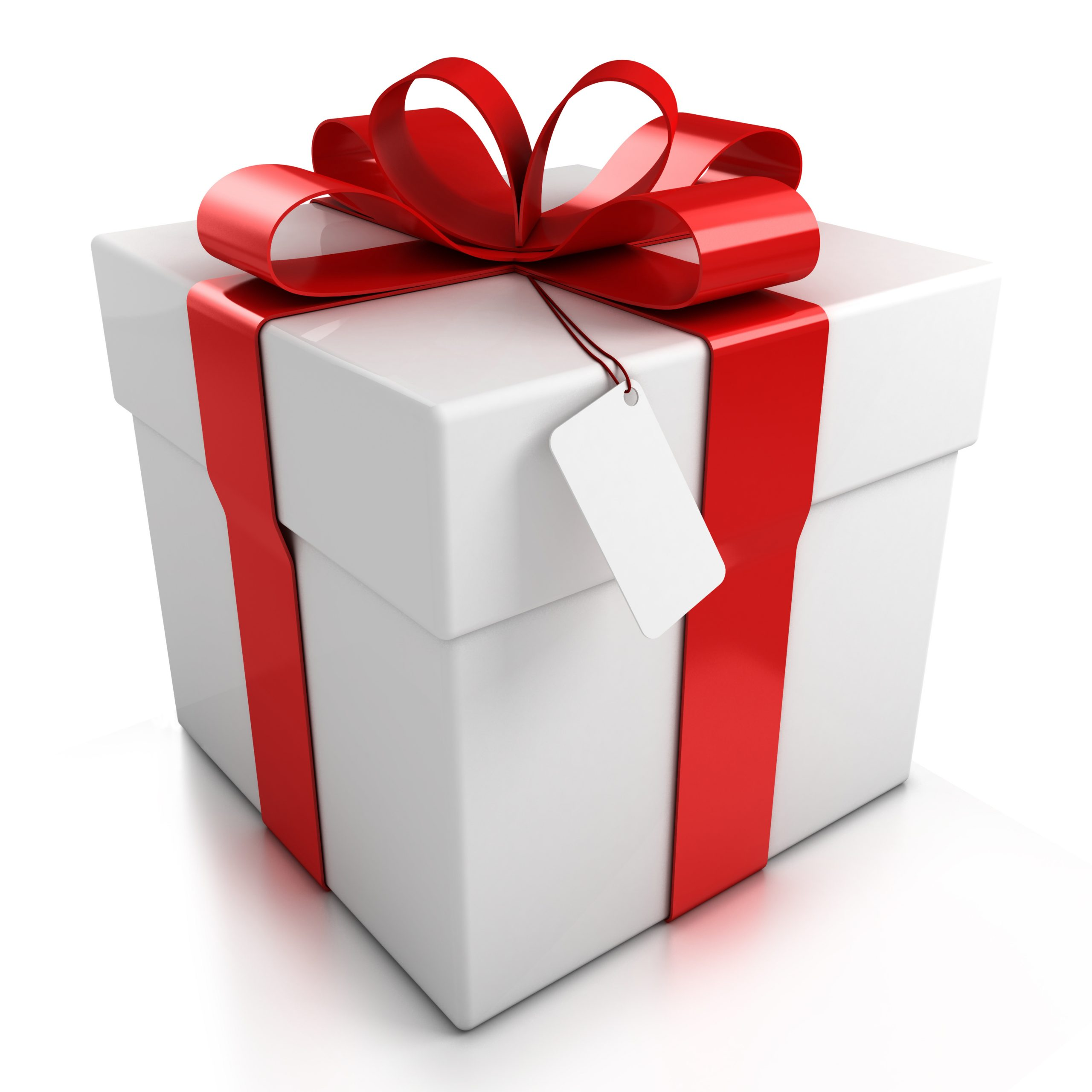 Image of a gift wrapped with red bow.