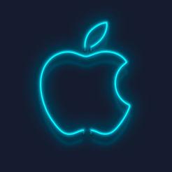Neon green apple logo cut out on dark background.