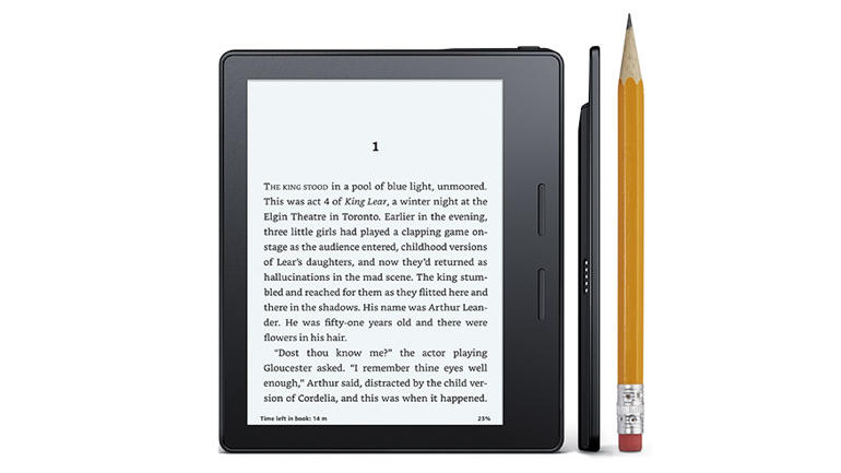 Front of Kindle Oasis with side shots of different colored sides.