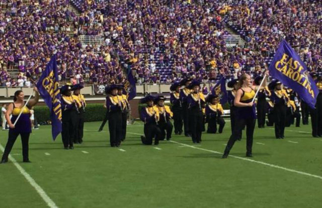 East Carolina State band members kneel during national anthem. Greenville, N.C., Oct. 1.