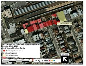 Figure 4. Map of fire area, Rockaway Beach Boulevard.