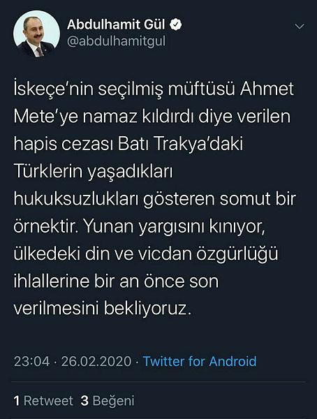 Bakan Gül'den Yunanistan'da tutuklanan müftü ile ilgili açıklama 1
