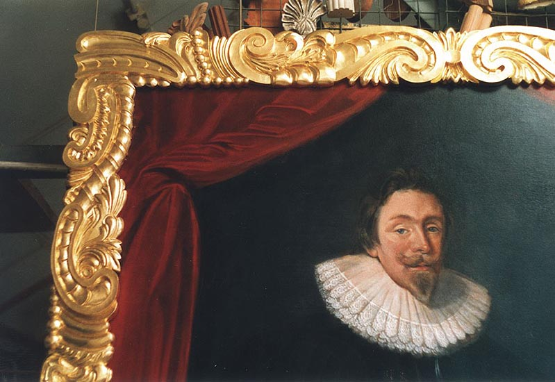 Carved and gilded 17th century style frame for Lord Baltimore portrait. Pine. University of Maryland.