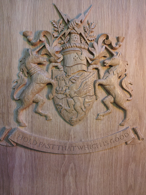 Carved crest for civic chambers. Oak. Trafford Civic Hall, Greater Manchester.