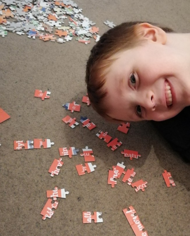 James and the giant peach 250 piece puzzle in progress
