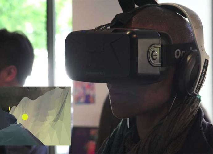 guest playing a VR student game (IAM Game Design 2016)