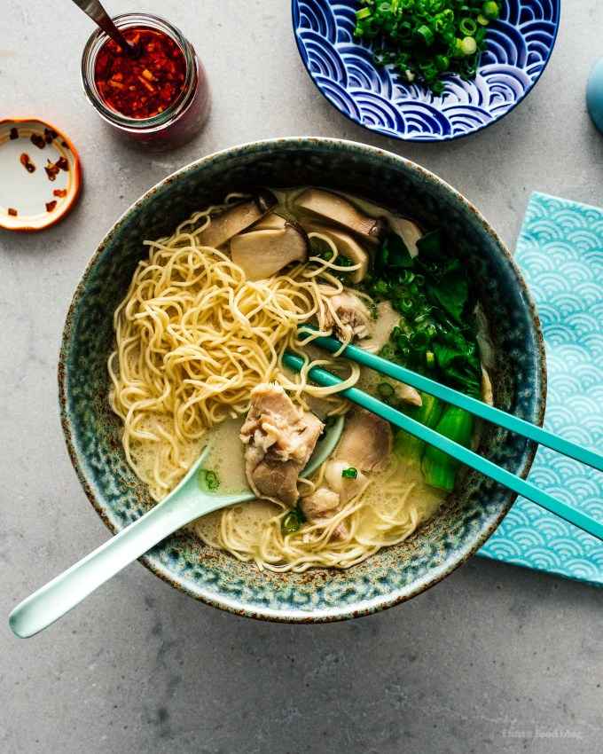15 Minute Miso Coconut Chicken Ramen Recipe | www.iamafoodblog.com