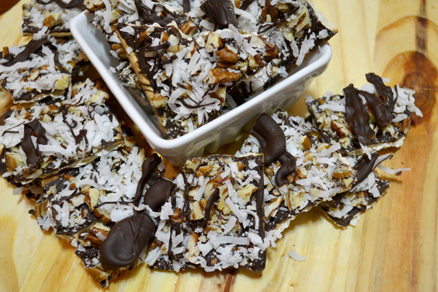 German's Chocolate Cake Matzo Bark