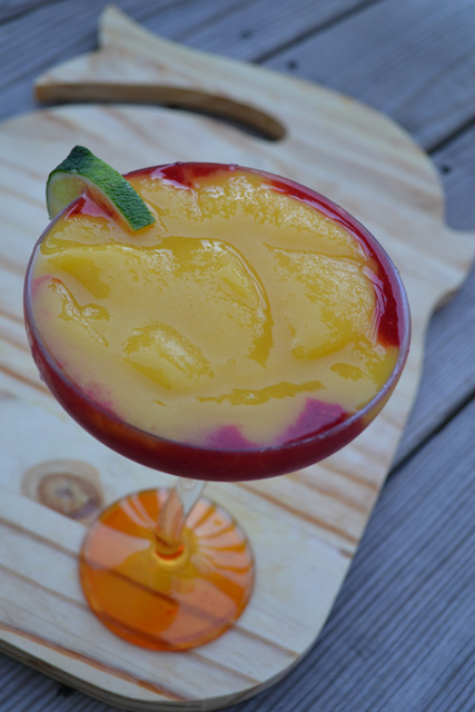 Layered Frozen Mango Raspberry Margaritas