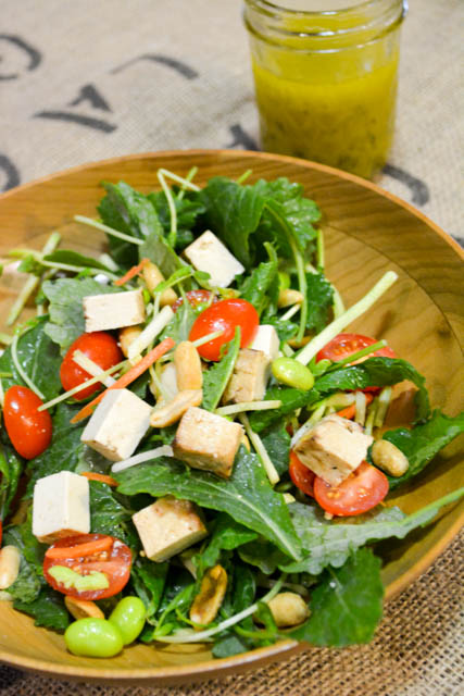 Colorful Asian Salad with Baked Tofu-3
