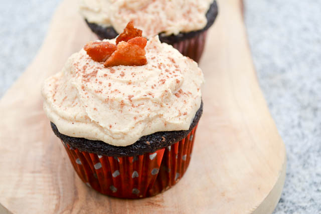 Dark Chocolate Bacon Cupcakes with Peanut Butter Buttercream-01