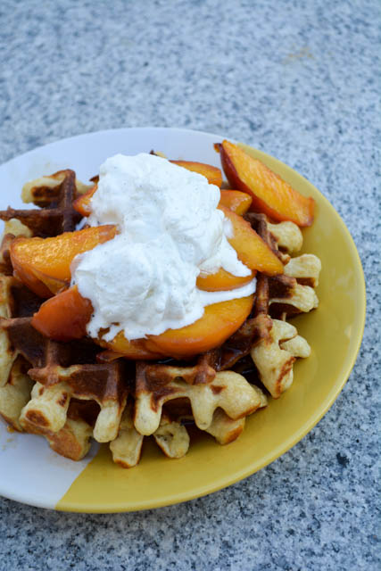 Sour Cream Waffles with Peach Compote-2