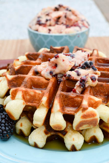 Overnight Yeast Waffles Blackberry Compound Butter-2