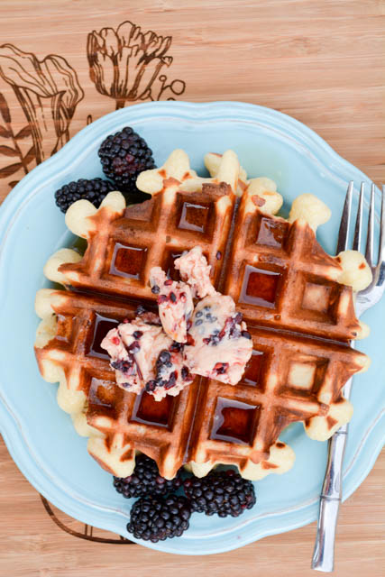 Overnight Yeast Waffles Blackberry Compound Butter-4