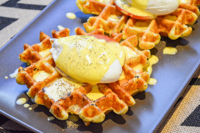 Everything Bagel Waffle Eggs Benedict