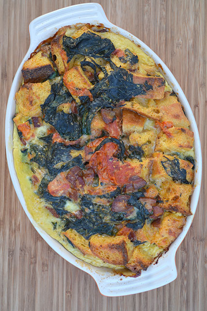 Cheesy, Bacon, Tomato, and Spinach Strata