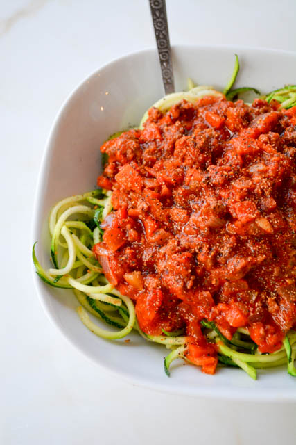 Quick Meat Sauce with Zucchini Noodles-1