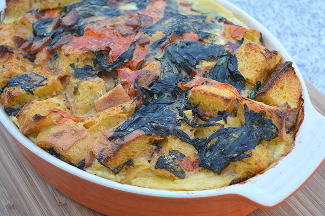 Cheesy, Bacon, Tomato, and Spinach Strata_03