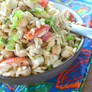 Orzo Pasta Salad with Tahini Dressing