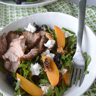 Grilled Pork Tenderloin with a Summery Peach and Berry Salad