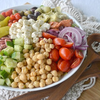 angled view of antipasto salad