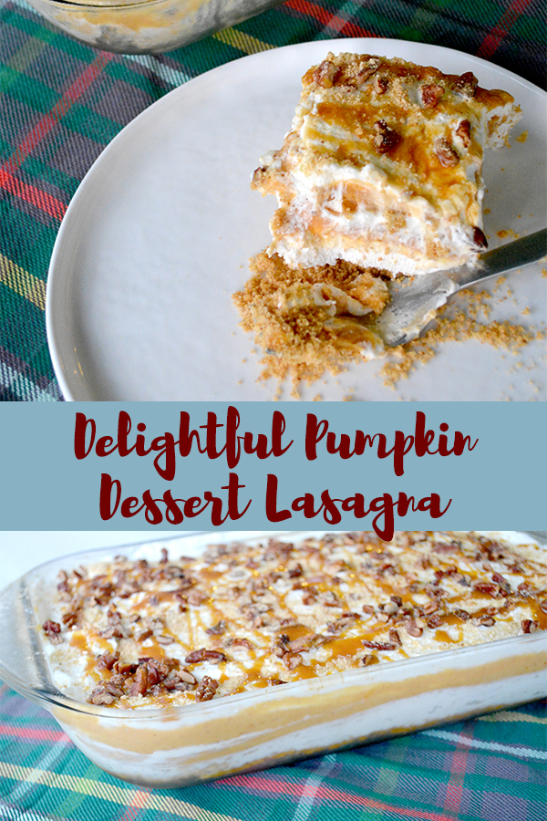 This Delightful Pumpkin Dessert Lasagna has layers of creamy cheesecake, pumpkin pudding, and whipped cream on a graham cracker crust. It's a delicious dessert recipe that's perfect for the fall!