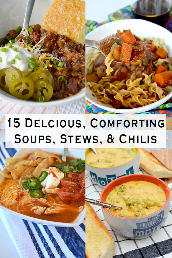 collage of soup stew and chilis bowls