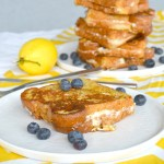 finished french toast with blueberries