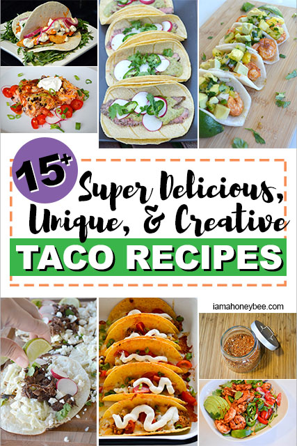 Collage of taco pictures calling out a round up of delicious taco recipes