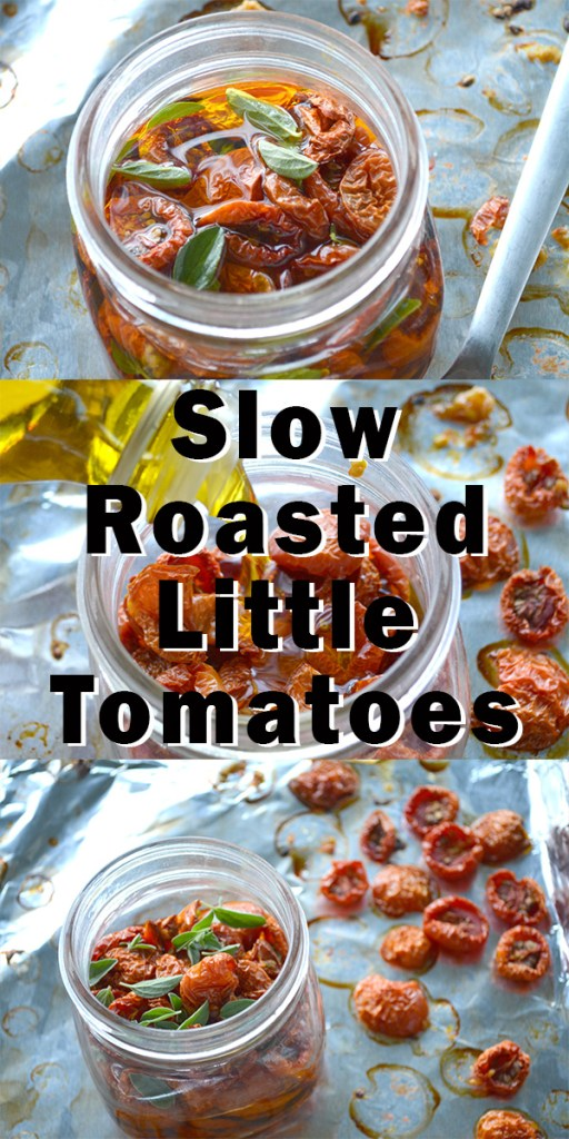collage of 3 pictures of slow roasted little tomatoes