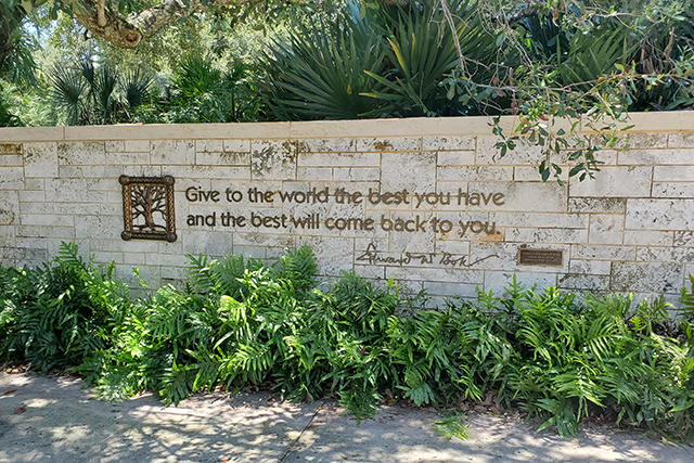 Quote on a stone wall at Bok Tower Gardens