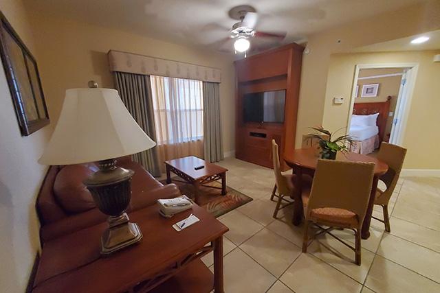 Living area of the One Bedroom Villa in Westgate Resort