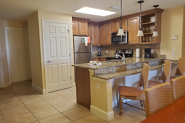 large kitchen in a one bedroom Grand Villa at Westgate Town Center in Kissimmee FL