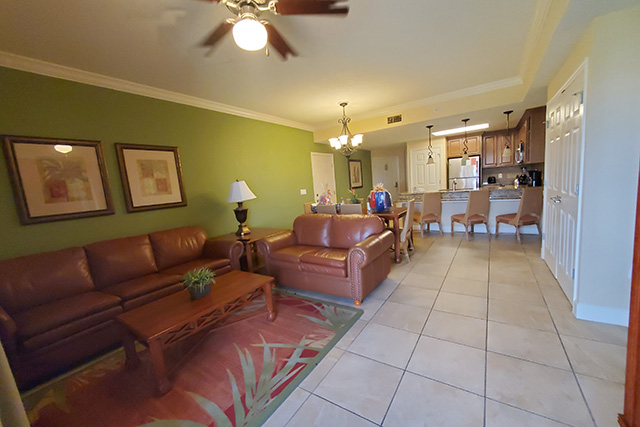 Open living area of a One Bedroom Grand Villa at Westgate Town Center Resort