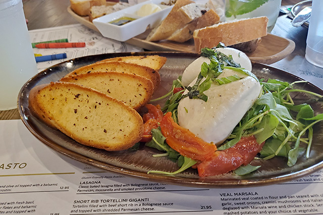 Burrata and Crostini appetizer at Italian Restaurant at Westgate Resort