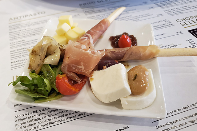 Small antipasto plate at an Italian restaurant at Westgate Resort