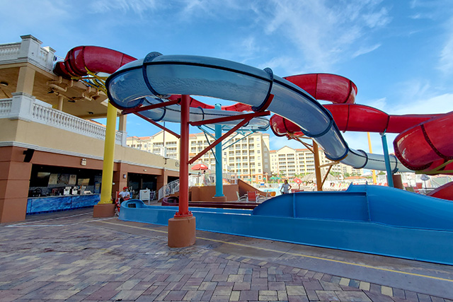 view below the twisting water slides at the Westgate Town Center Resort