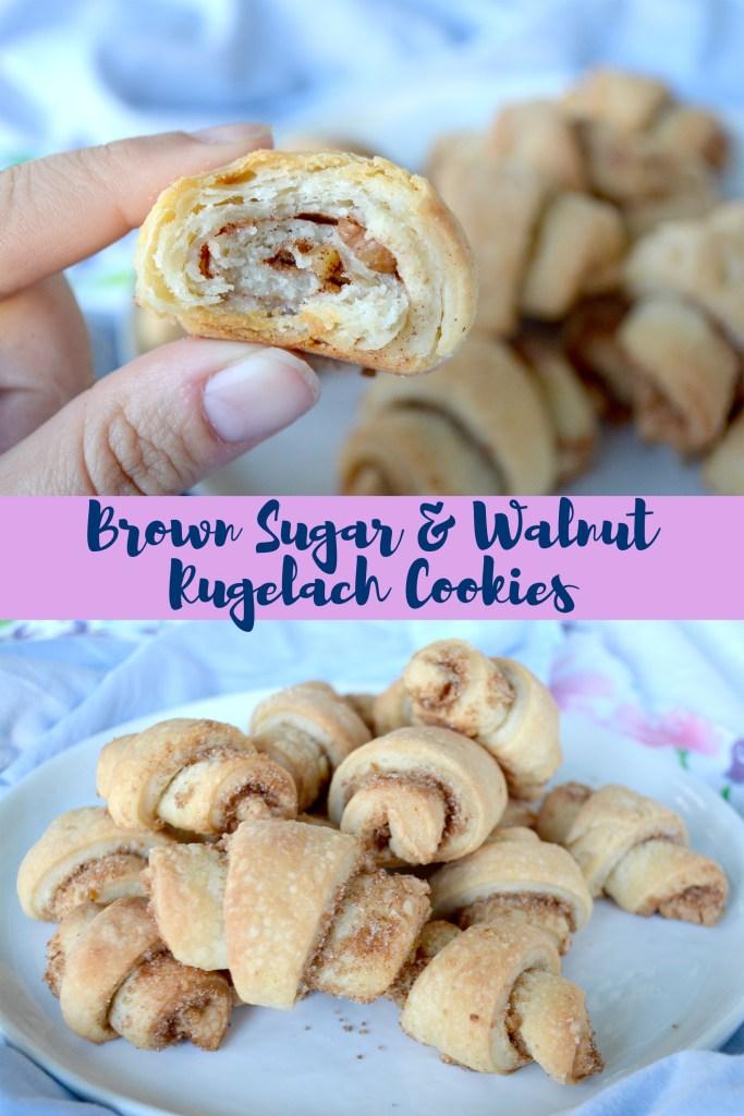 Pinterest Graphic for Brown Sugar Walnut Rugelach Cookies