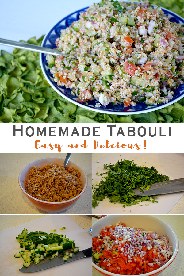 collage of tabouli picture of final serving picture and process pictures