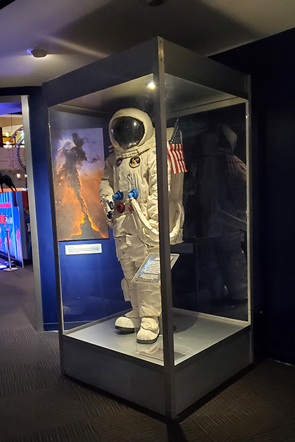 replica space suit in glass case at Jacksonville MOSH