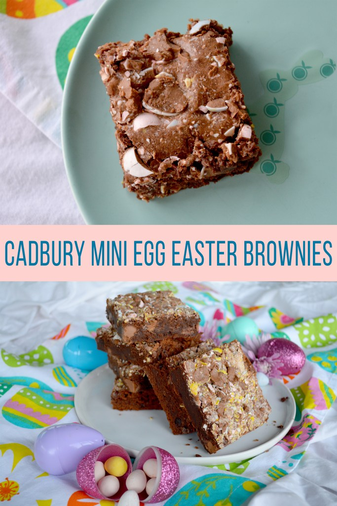 Collage of pictures of Cadbury Mini Egg Easter Brownies with text overlay