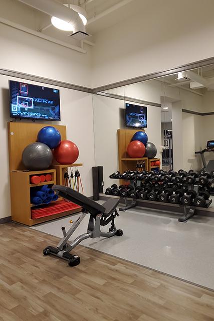 weight rack inside fitness center in Sheraton Hotel in Jacksonville FL