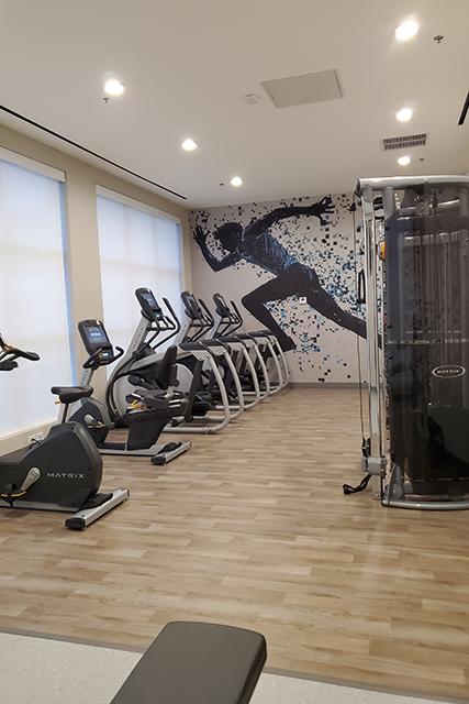 carido equipment inside fitness center in Sheraton Hotel in Jacksonville FL