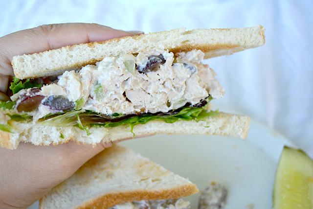 hand holding a chicken salad sandwich.