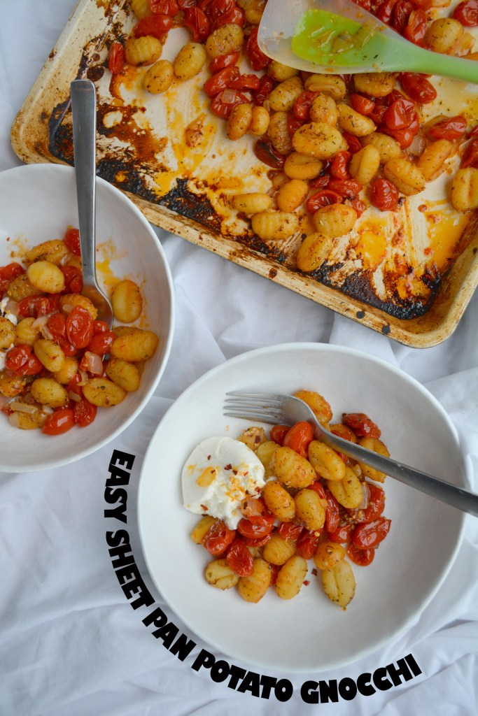 """Overhead view of bowls of pasta with label that says """"Easy Sheet Pan Potato Gnocchi""""."""