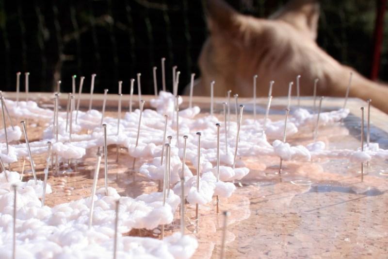 Copos de nieve a ganchillo, endureciendo